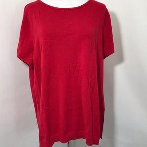 Talbots Red Anchor Short Sleeve Sweater Sz XL